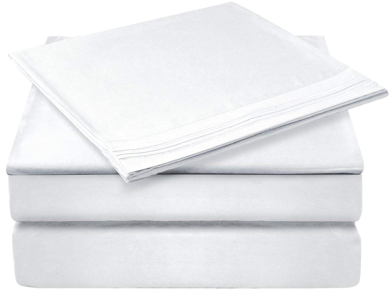 Gleeu0026Cluster 4 Piece White Queen Size Hypoallergenic Bed Sheets $10 (Free  Prime Shipping)