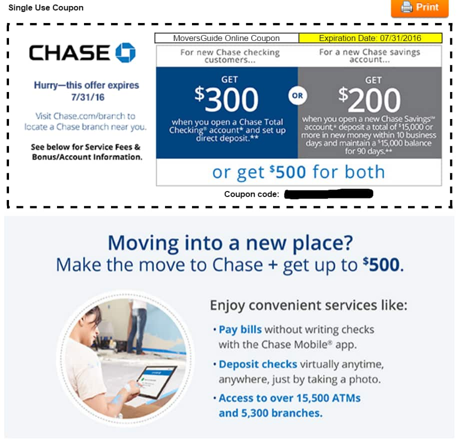 Chase savings account coupons 2018