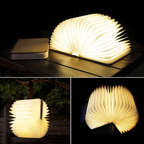 Wooden Folding Book Lamp USB Rechargeable Magnetic Decoration Light Warm White $19.99 + FS @ marcmart.usa via eBay