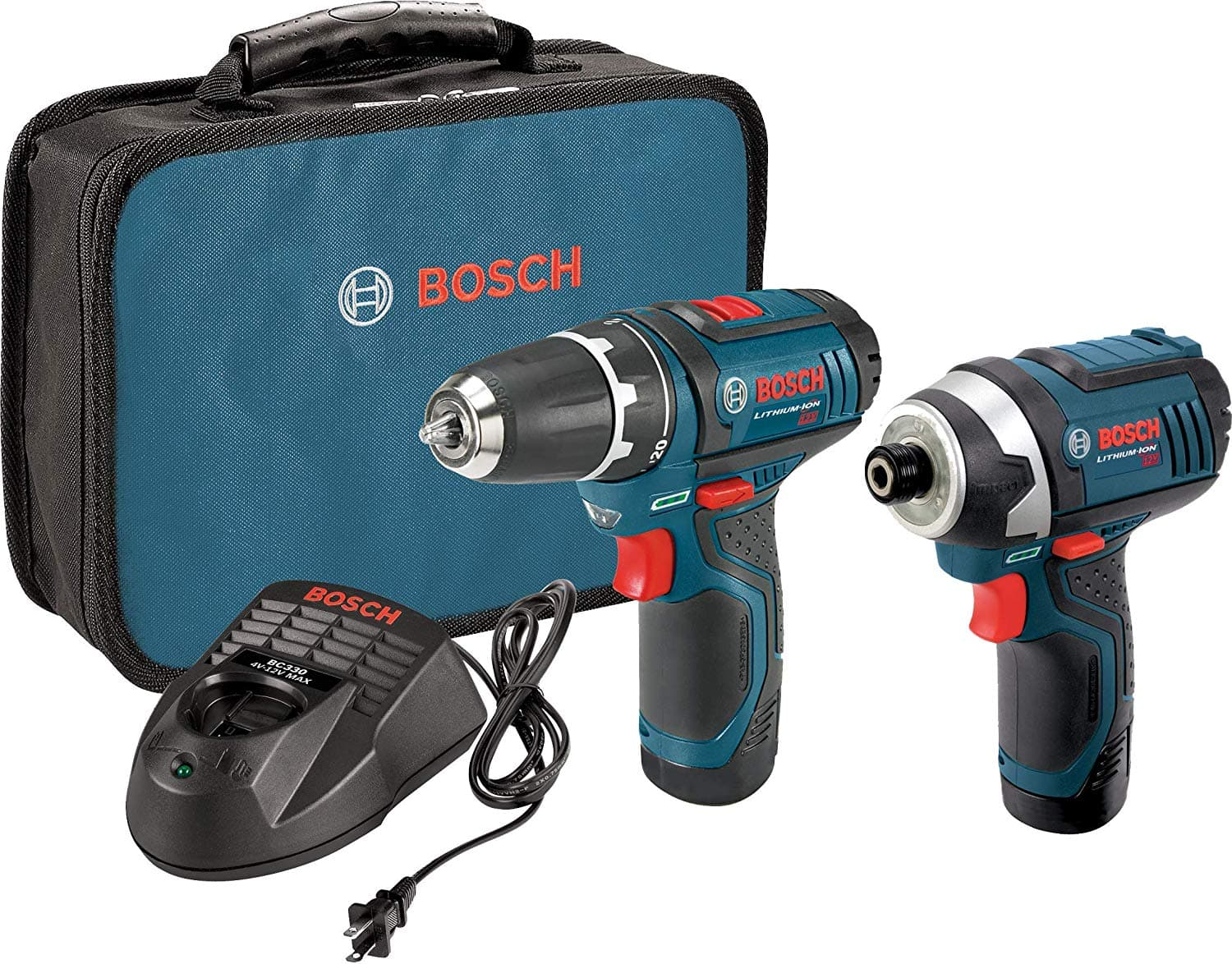 Bosch Power Tools Combo Kit CLPK22-120 - 12-Volt Cordless Tool Set (Drill/Driver and Impact Driver) with 2 Batteries, Charger and Case $81 was $99