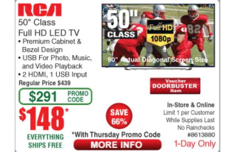 "RCA 50"" Full HD LED LCD 1080P $148 Frys Thanksgiving Day Instore & Online Free shipping"