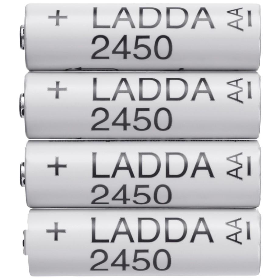 4-pk Ladda AA 2450mAh rechargeable batteries for $3.99 at IKEA (Woodbridge, VA) B&M