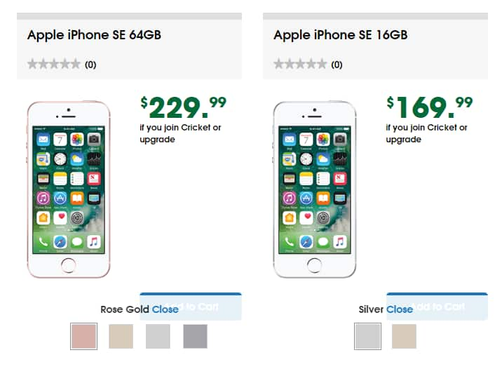 Cricket Wireless - IPhone SE 64 GB $229 all colors, IPhone SE 16 GB $169 + $50 Port In Credit!