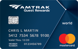 40,000 bonus points offer with the Amtrak Guest Rewards World Mastercard, worth up to $1,000 in Amtrak travel