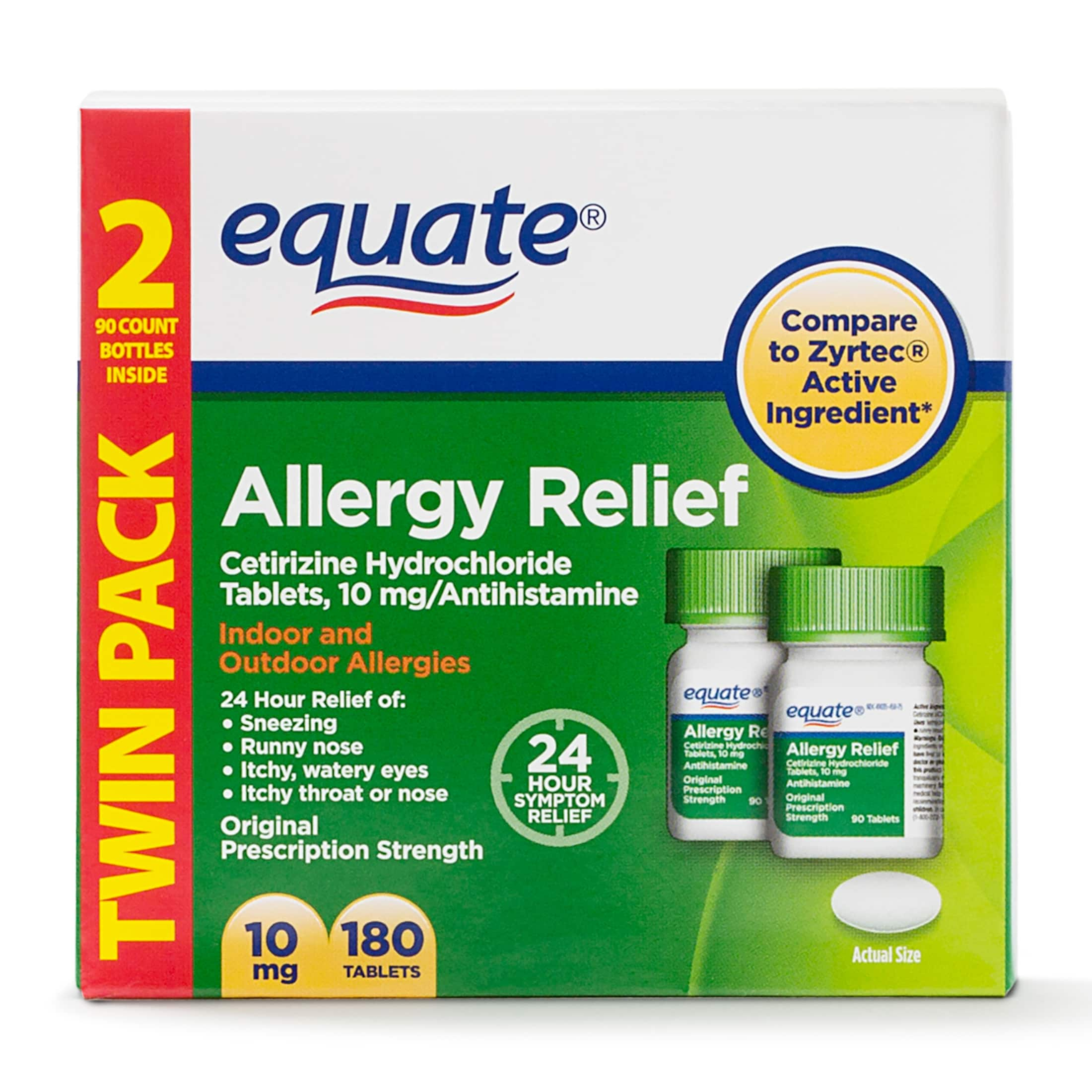Equate Allergy Relief Cetirizine Hydrochloride (compare to Zyrtec)180 Tablets. $7.50 Walmart online only