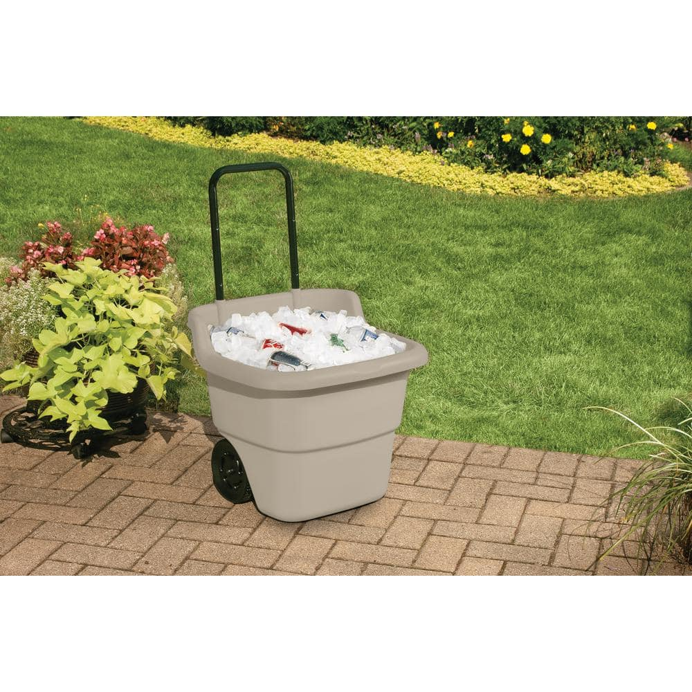 Suncast 15 Gal. Portable Resin Taupe Lawn Cart $19.88 @ Home Depot