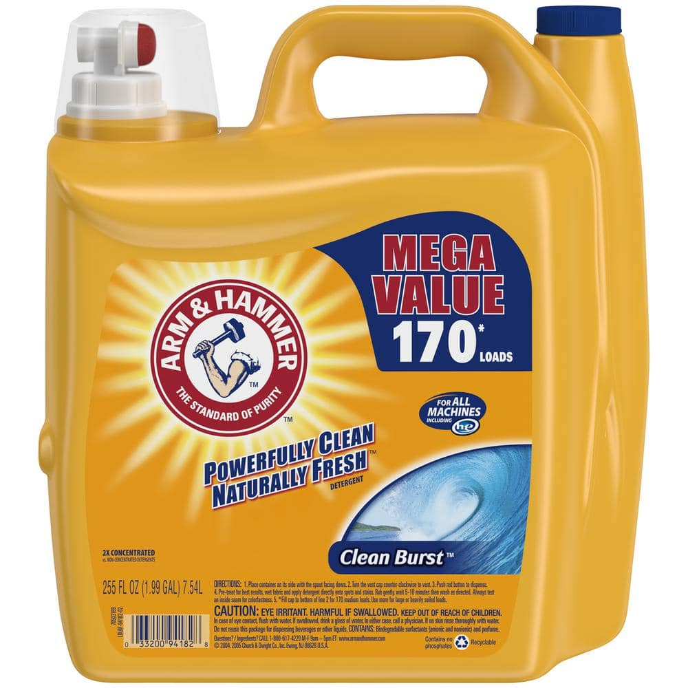 Arm & Hammer 255 oz. HE Clean Burst Liquid Laundry Detergent $7 @ Home Depot b&m