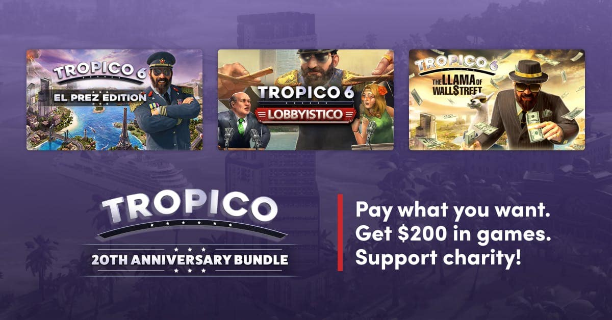 Tropico 3, 4, 5, and 6 complete editions, almost all DLCs included $12 at HumbleBundle.com