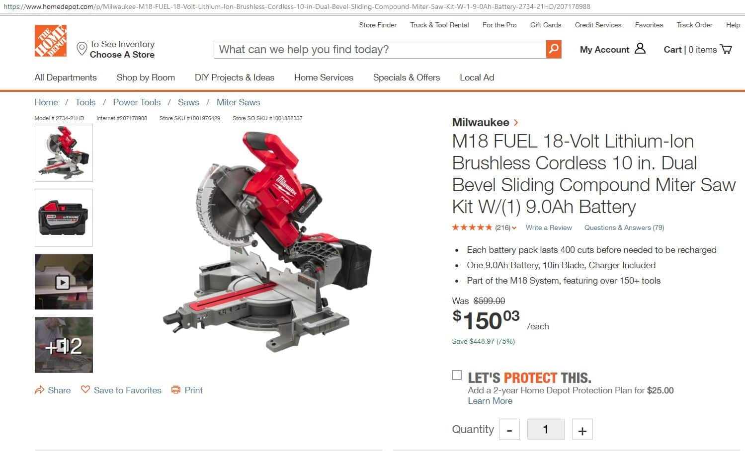 Milwaukee M18 FUEL Sliding Miter Saw - $150
