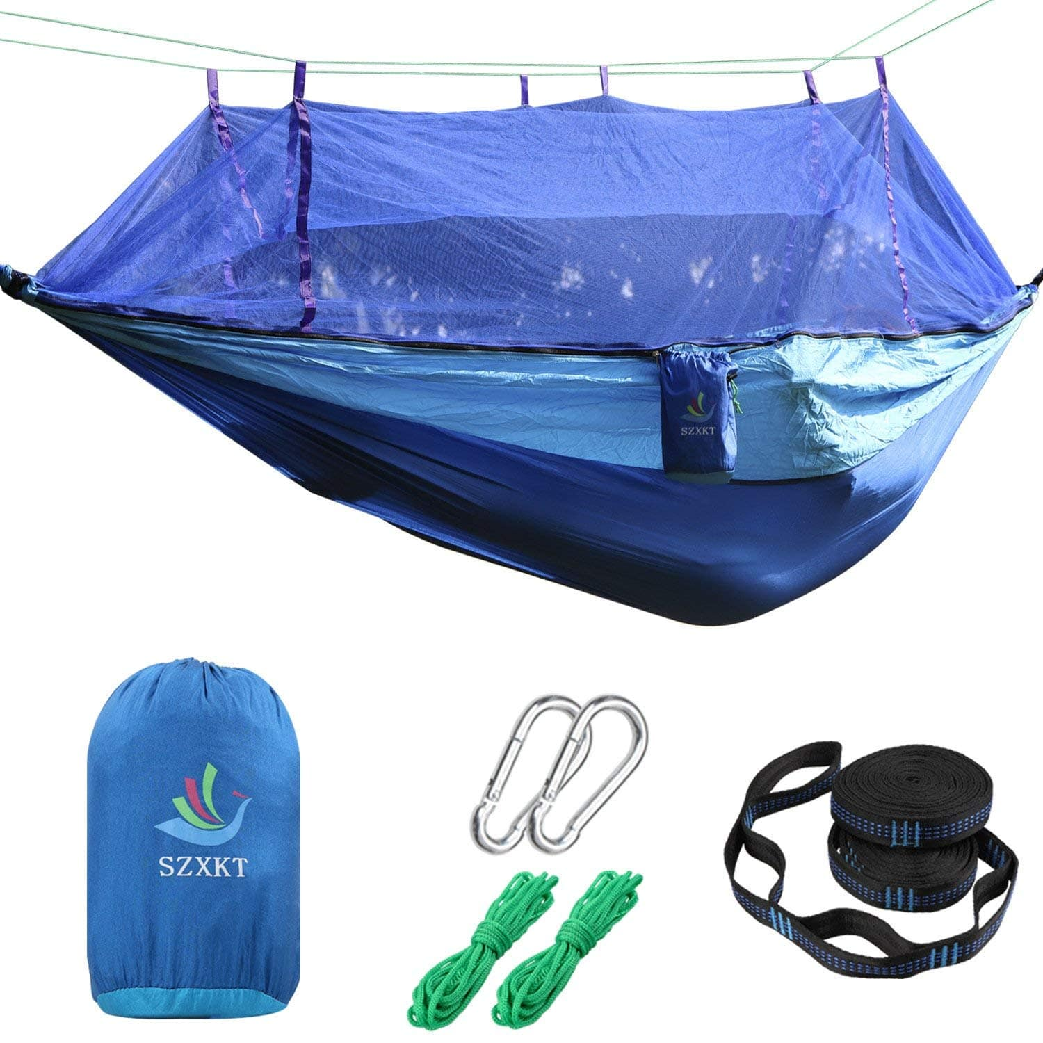 Camping Double Hammock Mosquito Net Outdoor Hammock Travel Bed Lightweight Parachute Fabric,Portable Hammock for Travel, Hiking $7.98 Amazon