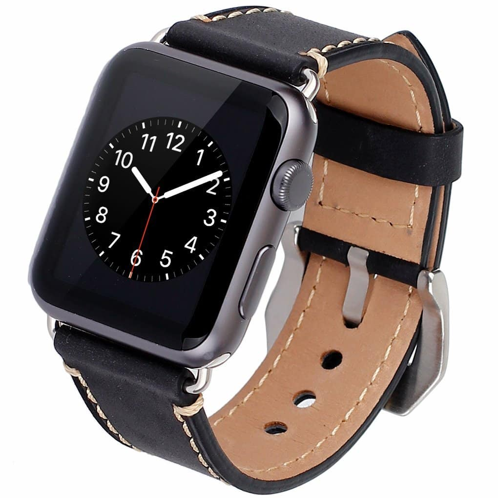 Crazy Horse Real Leather Apple Watch Band-Vintage Cowhide Style or Stainless Steel Metal Replacement Band from $9.99 ship from USA