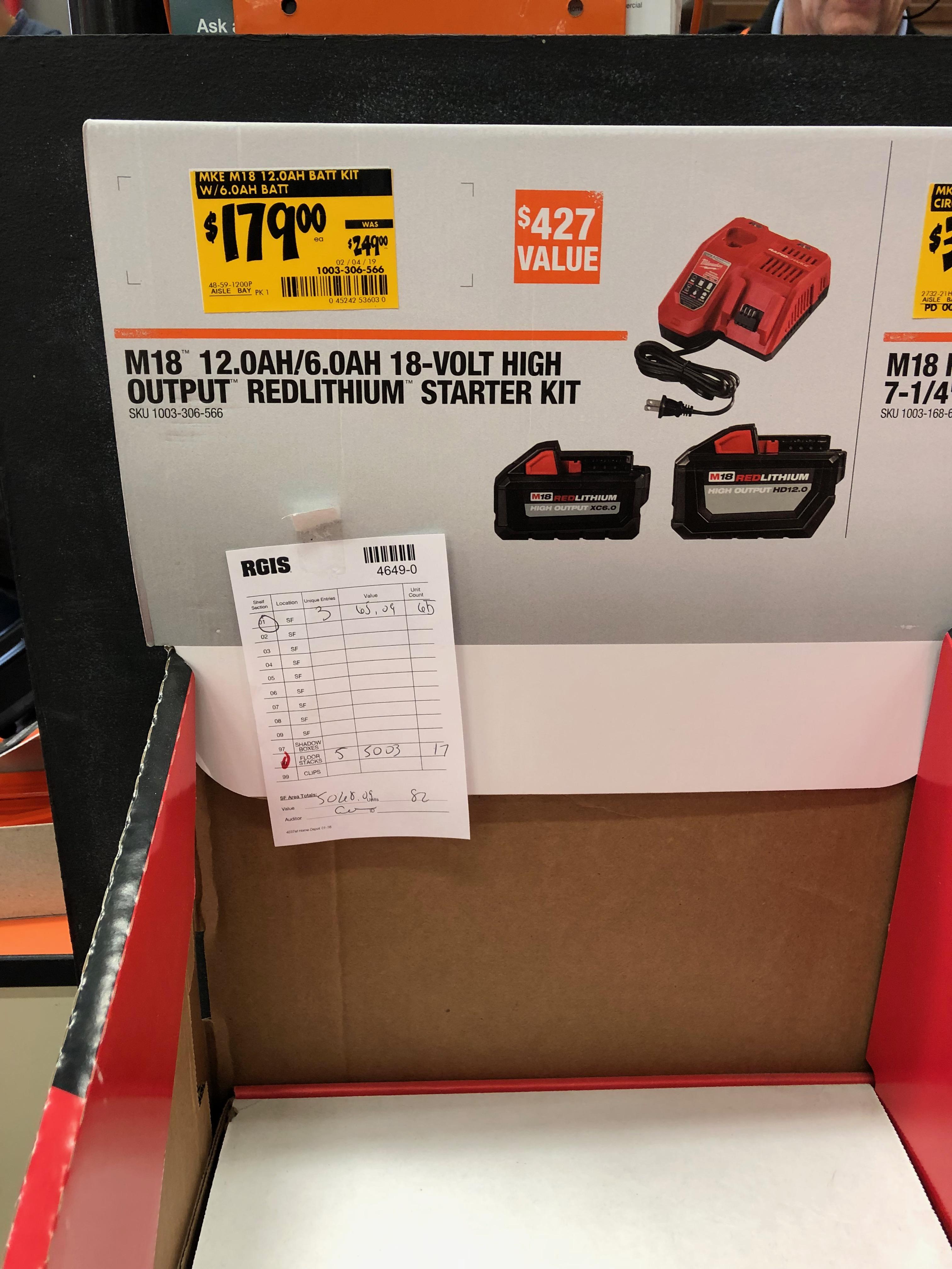 Milwaukee M18 XC HO Batteries 6.0 and 12.0 starter kit $179 @ Home Depot YMMV