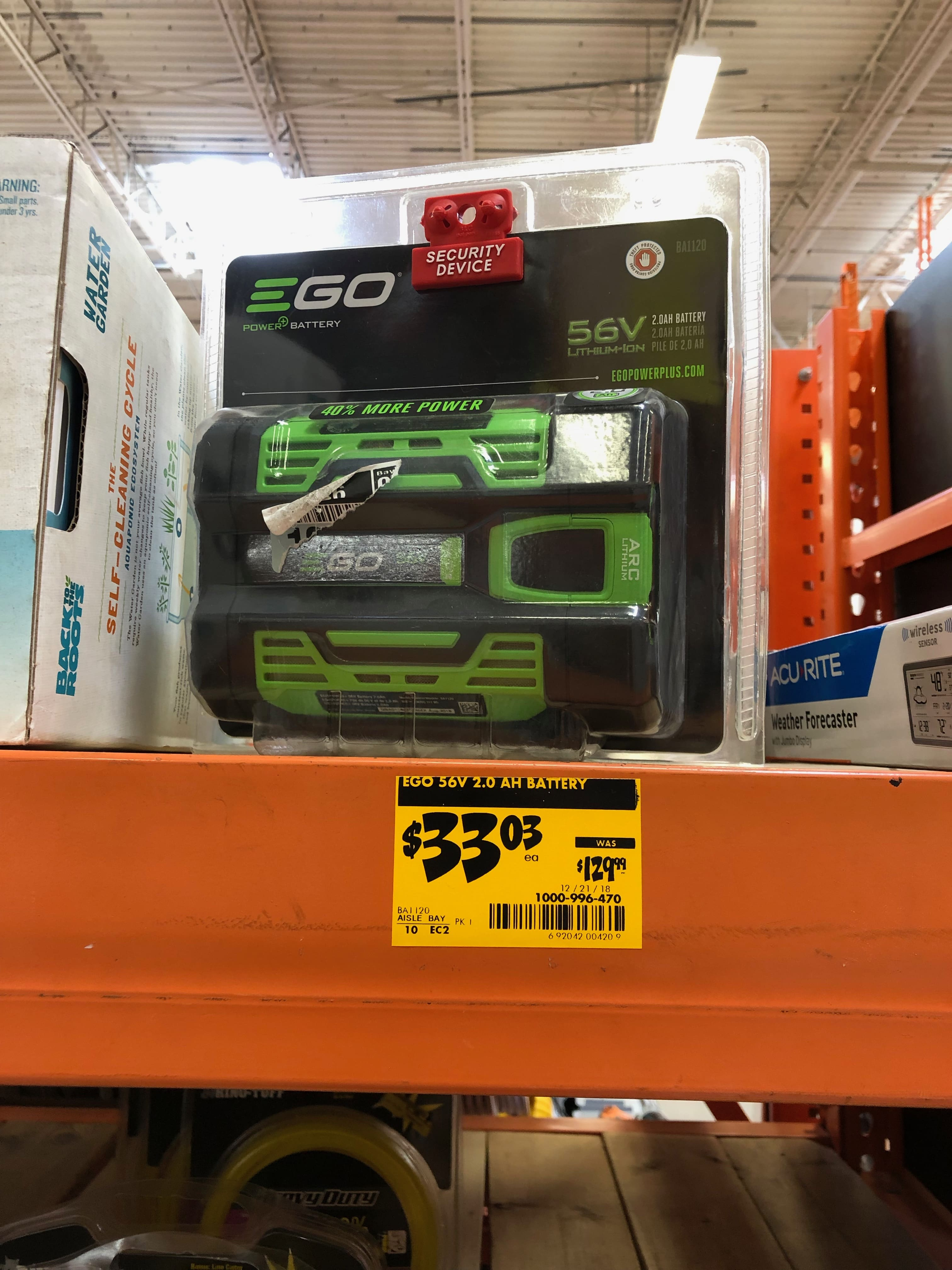 56-Volt 2.0 Ah Battery $33 at Home Depot YMMV