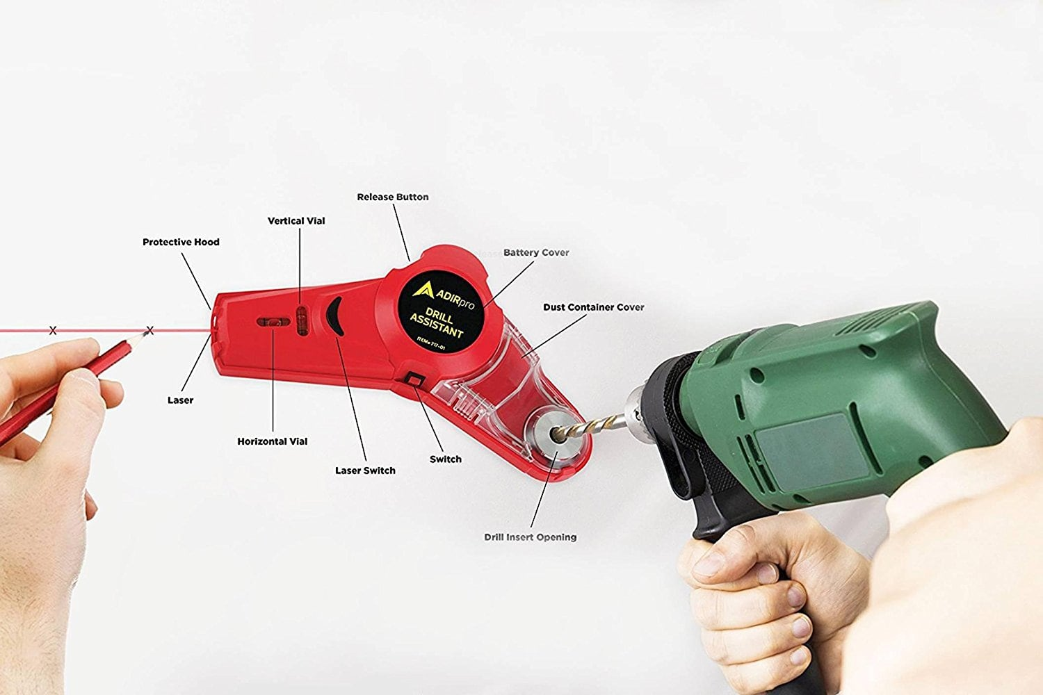AdirPro Drill Buddy Cordless Dust Collector with Laser Level $12.74 AC