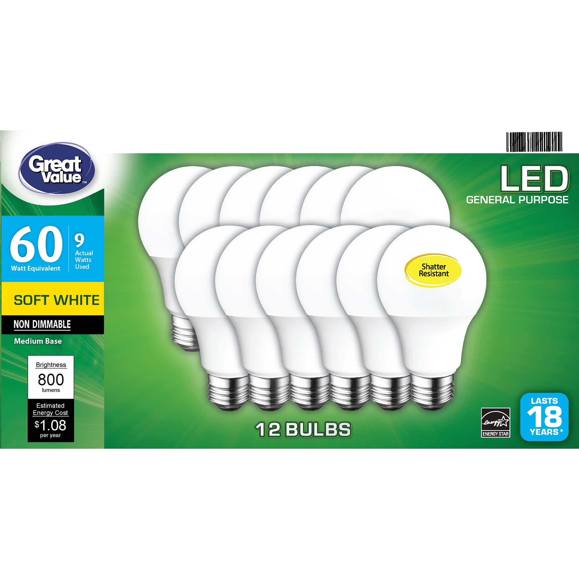 Great Value LED Light Bulb, 9 Watts (60W Equivalent) A19 General Purpose Lamp E26 Medium Base, Non-dimmable, Soft White, 12-Pack $1.97 YMMV