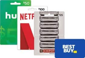 $50 Gift Card for Chipotle, Uber, or Hulu + $10 Best Buy