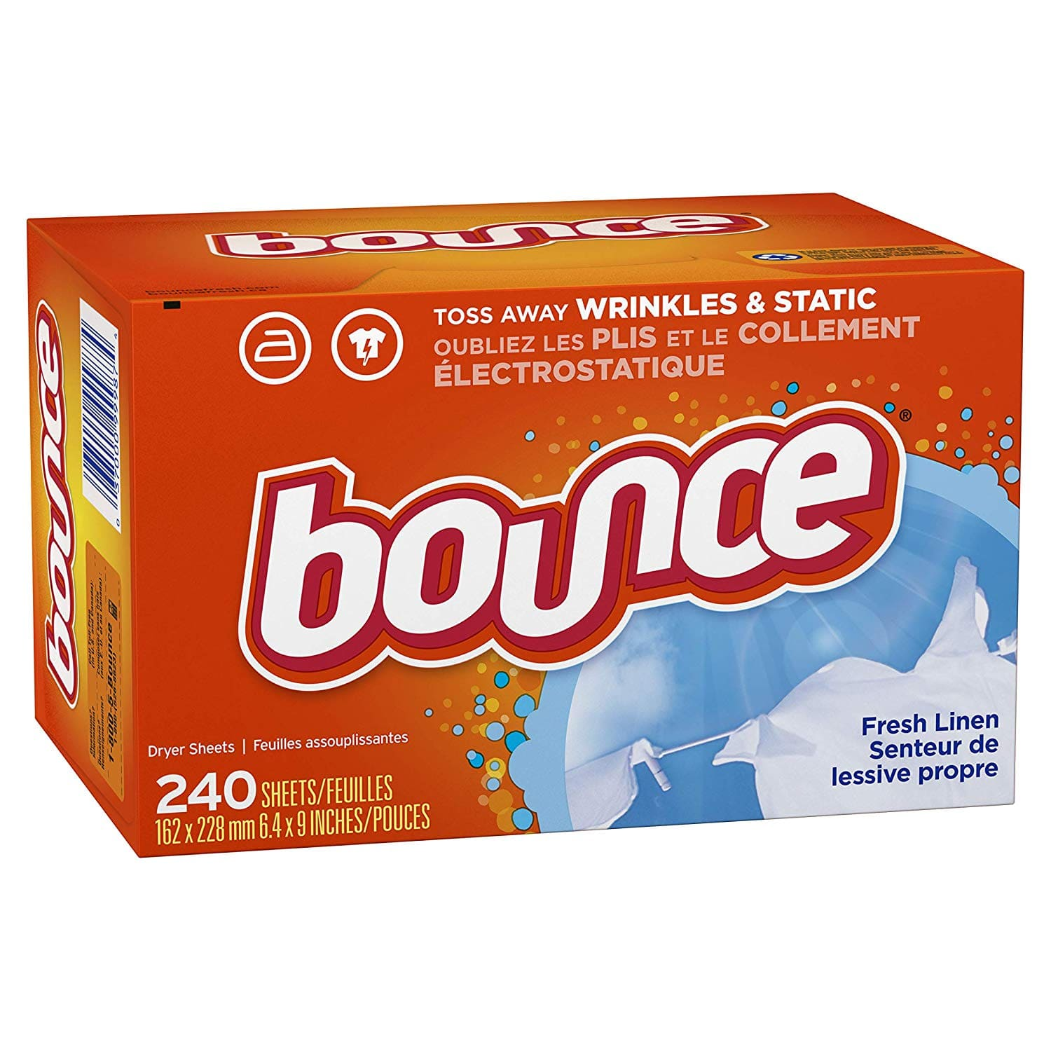 240-Count Bounce Fabric Softener Dryer Sheets (Fresh Linen/Free & Gentle) $3.74 (or less w/ 15% S&S) + Free S&H