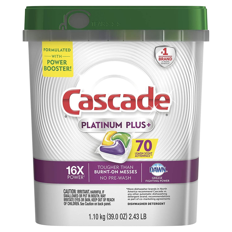 70-Count Cascade Platinum Plus Dishwasher Detergent ActionPacs (Lemon) $13.99 (or $11.99 w/ 15% S&S) + Free s/h