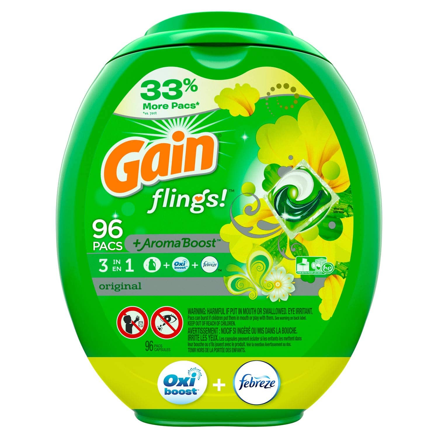 96-Ct Gain Flings! Laundry Detergent Pacs (Blissful Breeze) $14.10 w/ S&S + Free Shipping