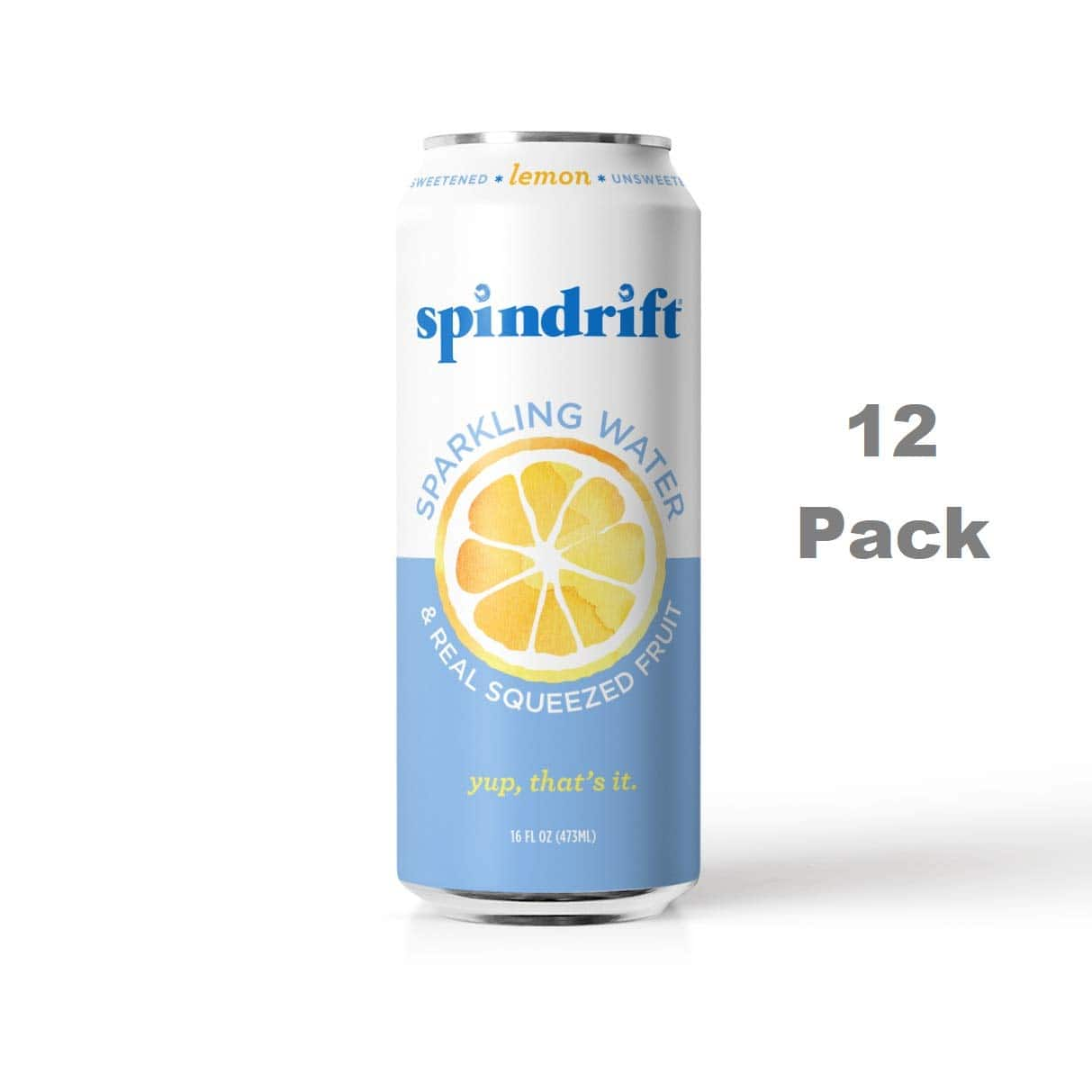 12-Pack 16-Oz. Spindrift Sparkling Water, Lemon Flavor $5.96 or less w/ S&S + free s/h