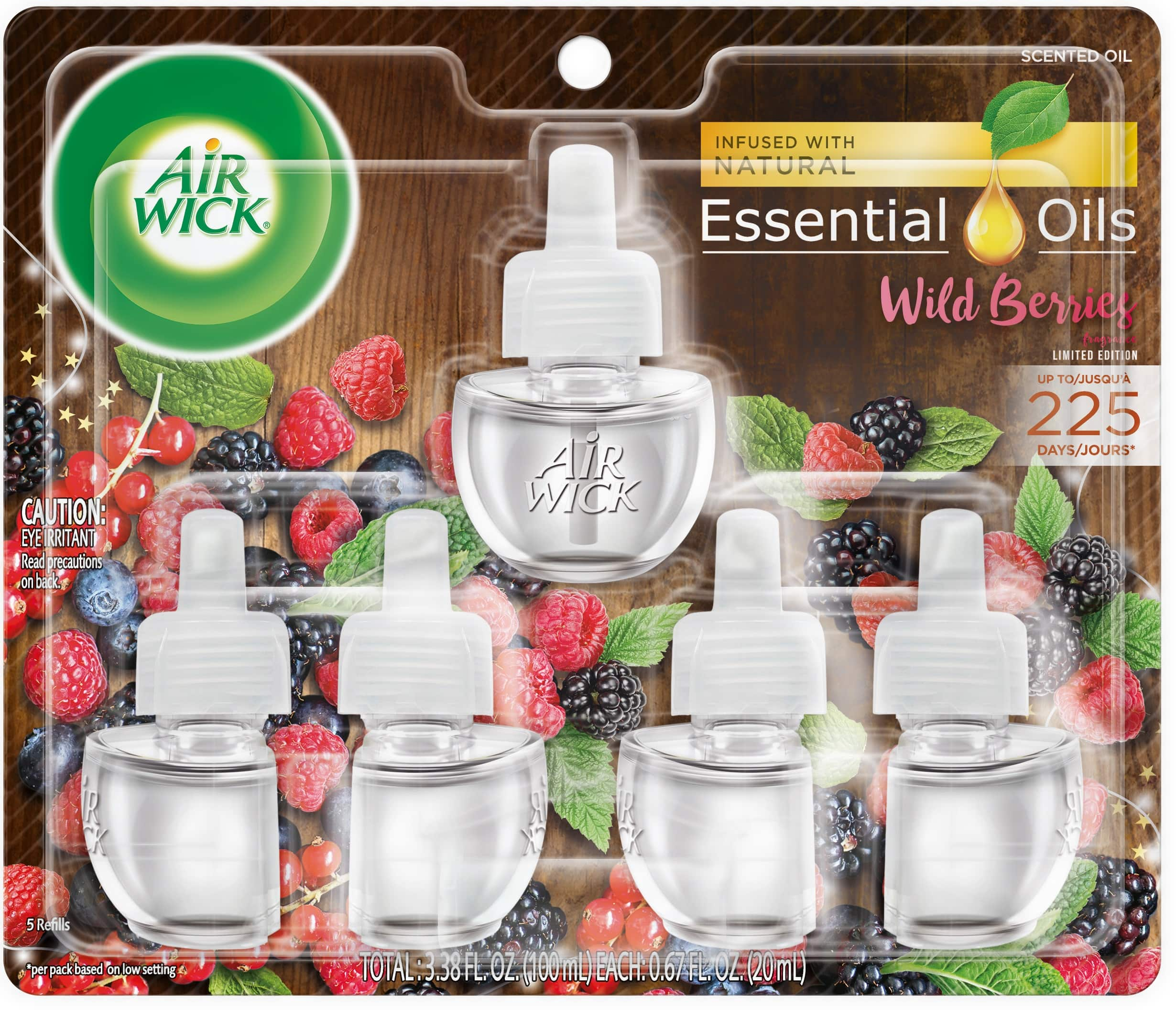5-Pack Air Wick Plug in Scented Oil Refills (Wild Berries Scent)