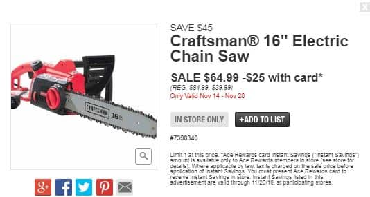 16in 12 amp 3.5 hp craftsman electric chainsaw $39 @ ace hardware in ...