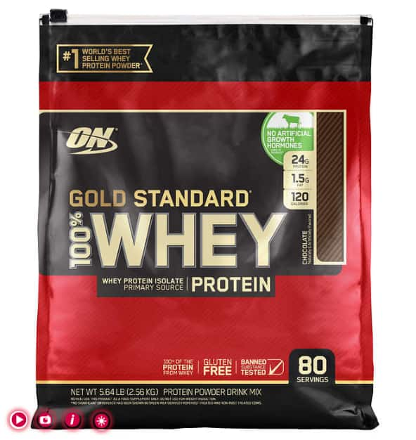 Optimum Nutrition Gold Standard Whey Protein, 5.64 lb, 80 Servings $42.99