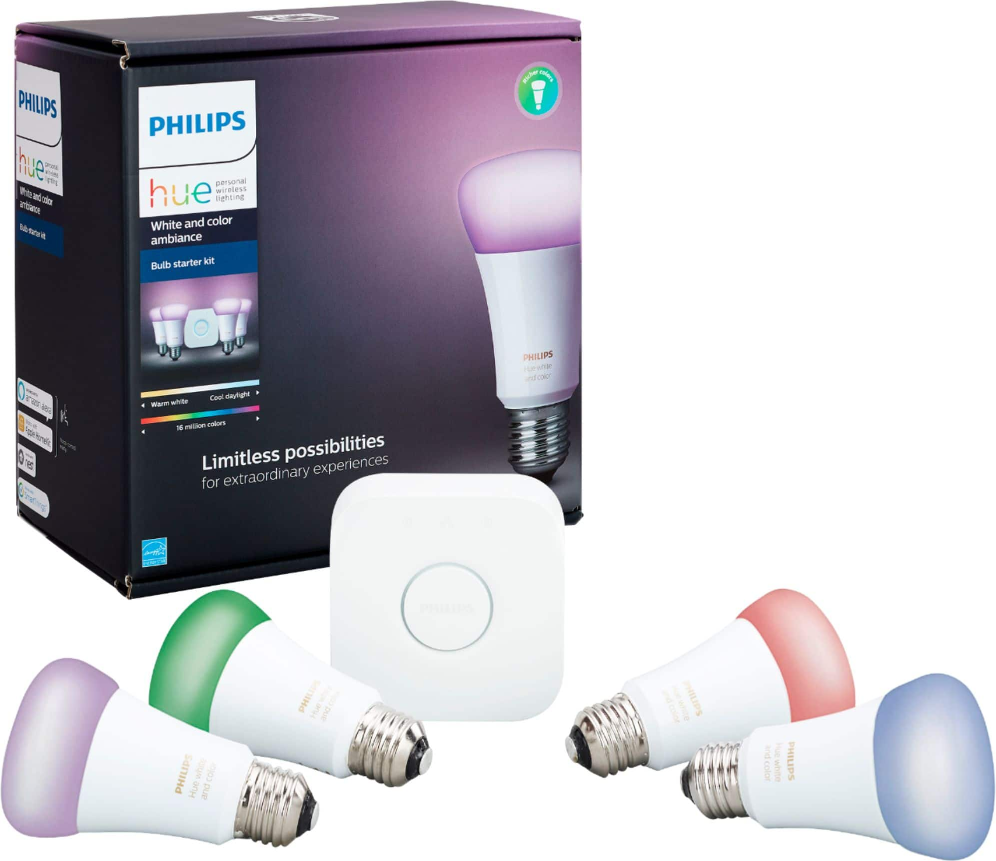Philips - Hue White and Color Ambiance A19 LED Starter Kit with 2 Echo Dots