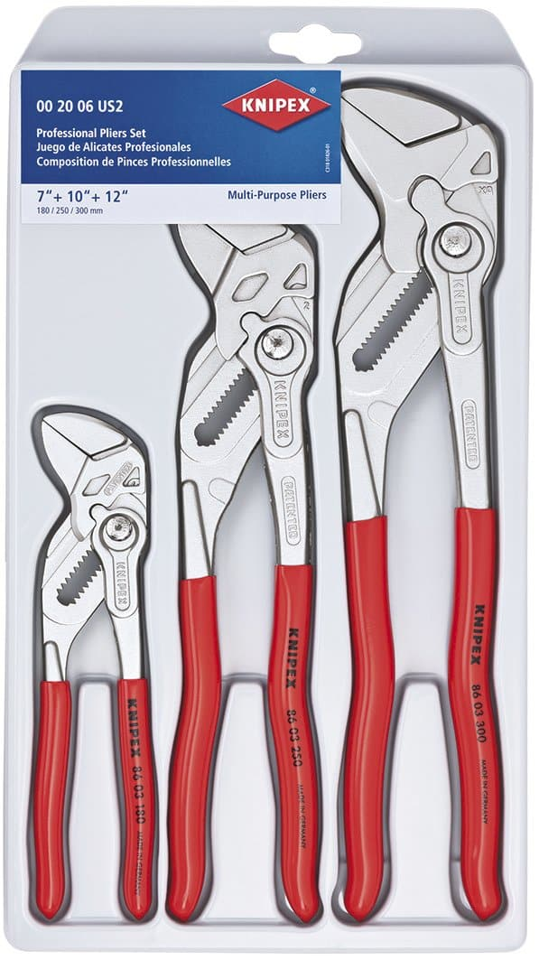 KNIPEX Tools 00 20 06 US2, Pliers Wrench 3-Piece Set $137
