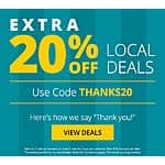 groupon 20% off local deals for current members 30% off for returning YMMV