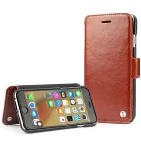 1byone Genuine Leather Wallet Folio Case / Stand with Card Slots - For iPhone 6 / 6s $6.99 + FS w/ Prime or FSSS