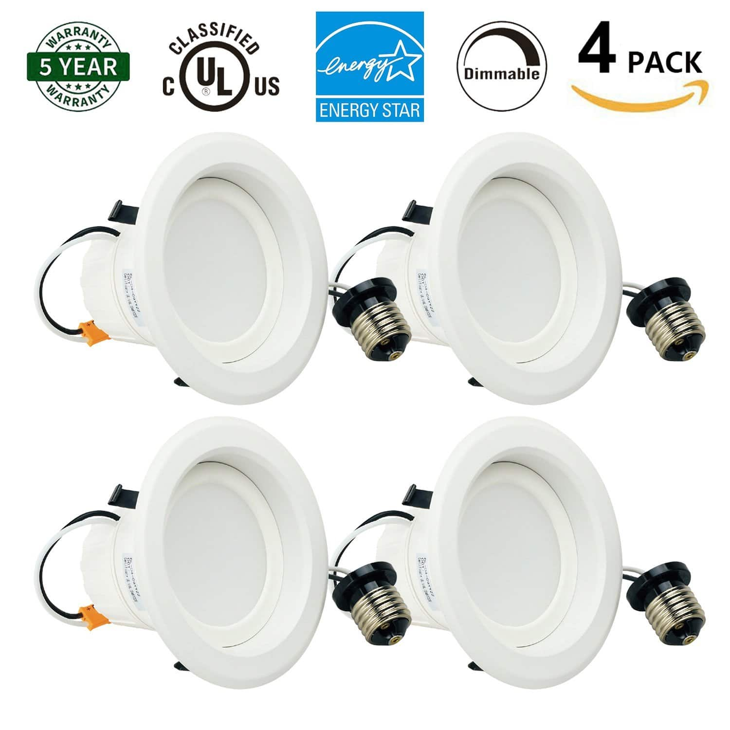 4-Pack 4 Inch Round Led Recessed Dimmable LED Retrofit Downlight 720 Lumen 3000K or 4000K  $32.29 Shipped with Prime or FSSS