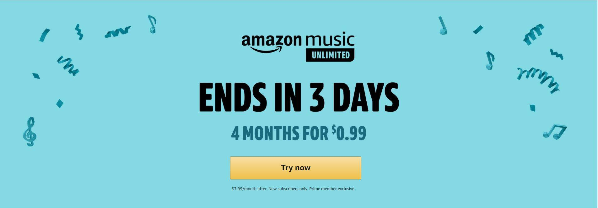 Amazon Music Unlimited 4 Months for $0.99