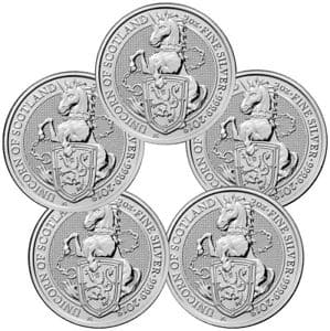 Lot of 5 - 2018 Britain 2 oz Silver Queen's Beasts Unicorn of Scotland  Under Spot Price $165.52