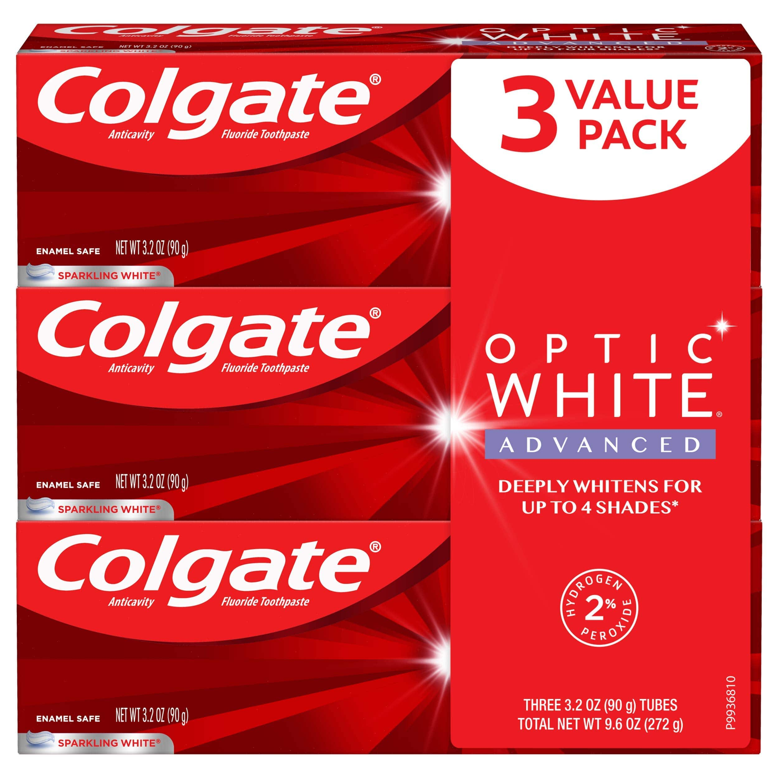 Amazon: 3-Pack Colgate Optic White Advanced Teeth Whitening Toothpaste with Fluoride, 2% Hydrogen Peroxide, Sparkling White - $7.01 AC with S&S, or $7.48 without