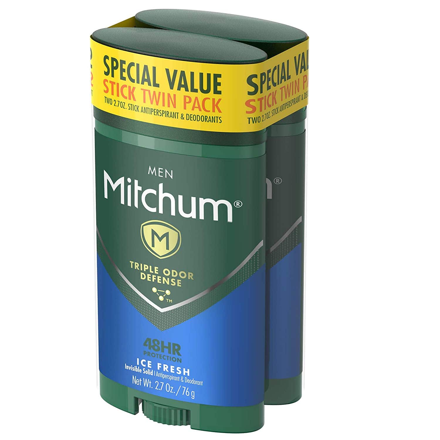 Mitchum Antiperspirant Deodorant Stick for Men, Triple Odor Defense Invisible Solid, 48 Hr Protection, Ice Fresh, 2.7 oz (pack of 2) YMMV $3.59 at Amazon FS w Prime