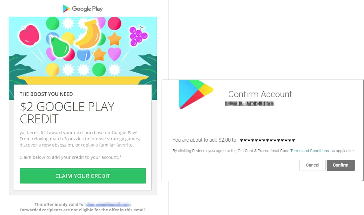 THE BOOST YOU NEED $2 GOOGLE PLAY CREDIT *YMMV* (targeted email?)