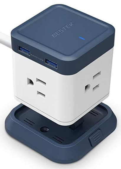 BESTEK Vertical Cube Power Strip 3-Outlet and 4 USB Charging Station with Mountable Detachable Base for $17.99 @Amazon