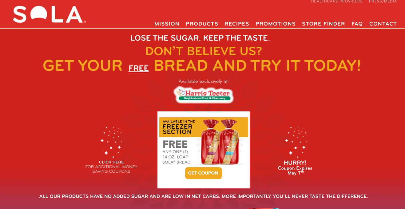 FREE Loaf of Sola Bread (exclusively at Harris Teeter) Until 5/7/18