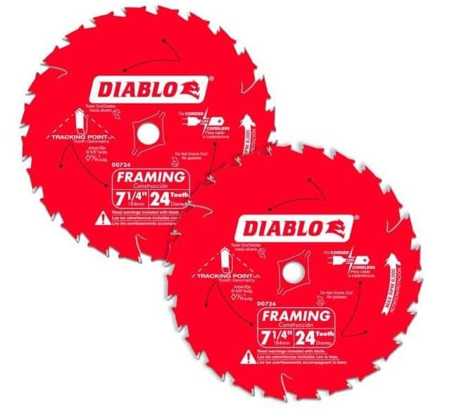 Diablo 7-1/4 in. x 24-Teeth Tracking Point Framing Circular Saw Blade Value Pack (2-Pack) - $9.88 (free shipping) at Home Depot