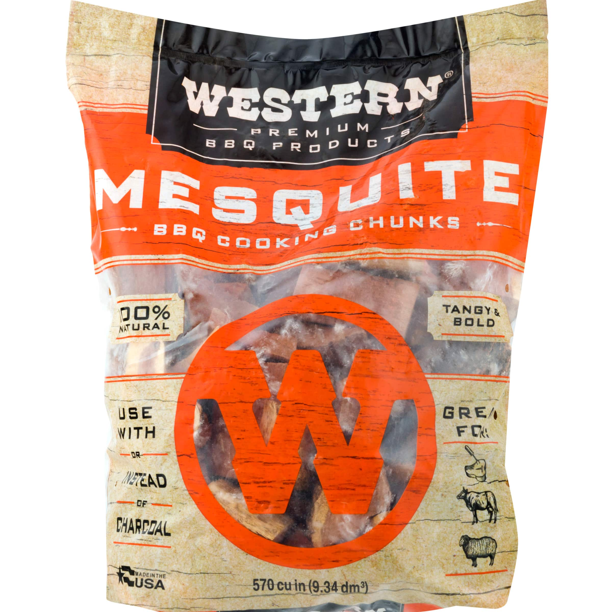 Western Premium BBQ Products Mesquite BBQ Smoking Cooking Chunks, 570 Cu In - $5.58 at Walmart