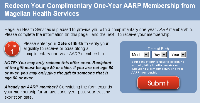 Free 1 year AARP membership (or renew existing)+ free spouse card - must be 50 or older