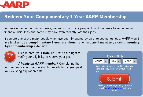 8fb3e42d379 Free 1 year AARP membership (or renew existing)+ free spouse card - must be  50 or older