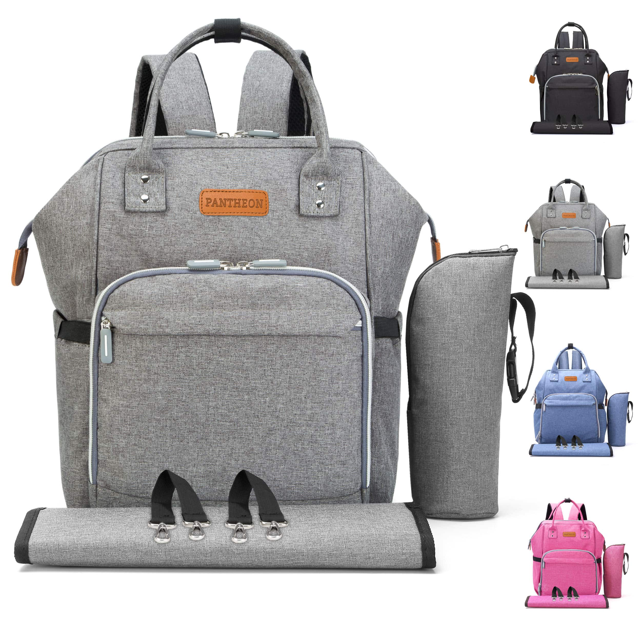Diaper Backpack Bag with Wide Open Design, Changing Pad, Insulated Cooler Pocket for Bottle Storage, Stroller Straps, by Pantheon, for Boys or Girls, Mom or Dad $23
