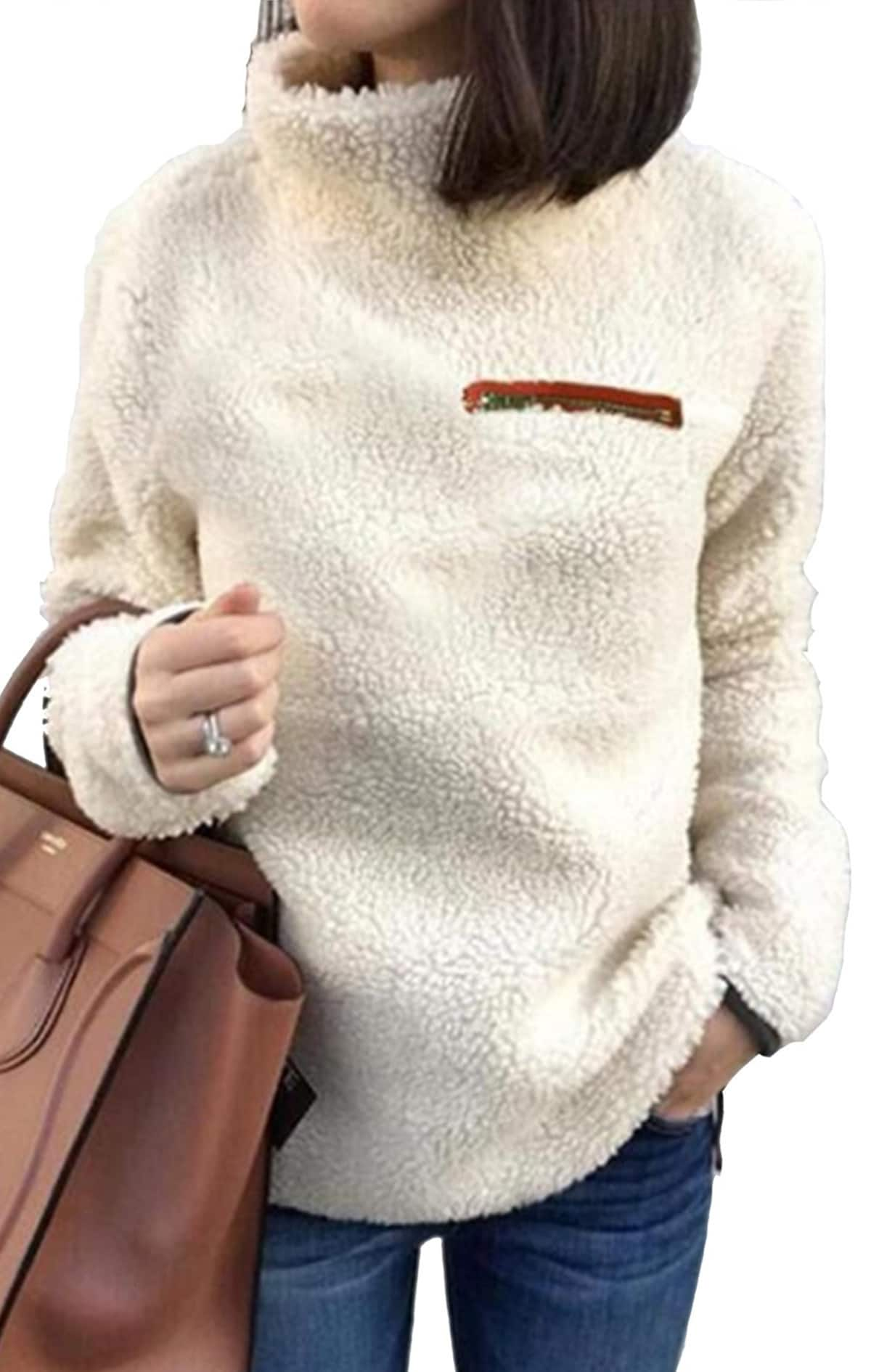 Women's Sherpa Fuzzy Warm Top $17.49