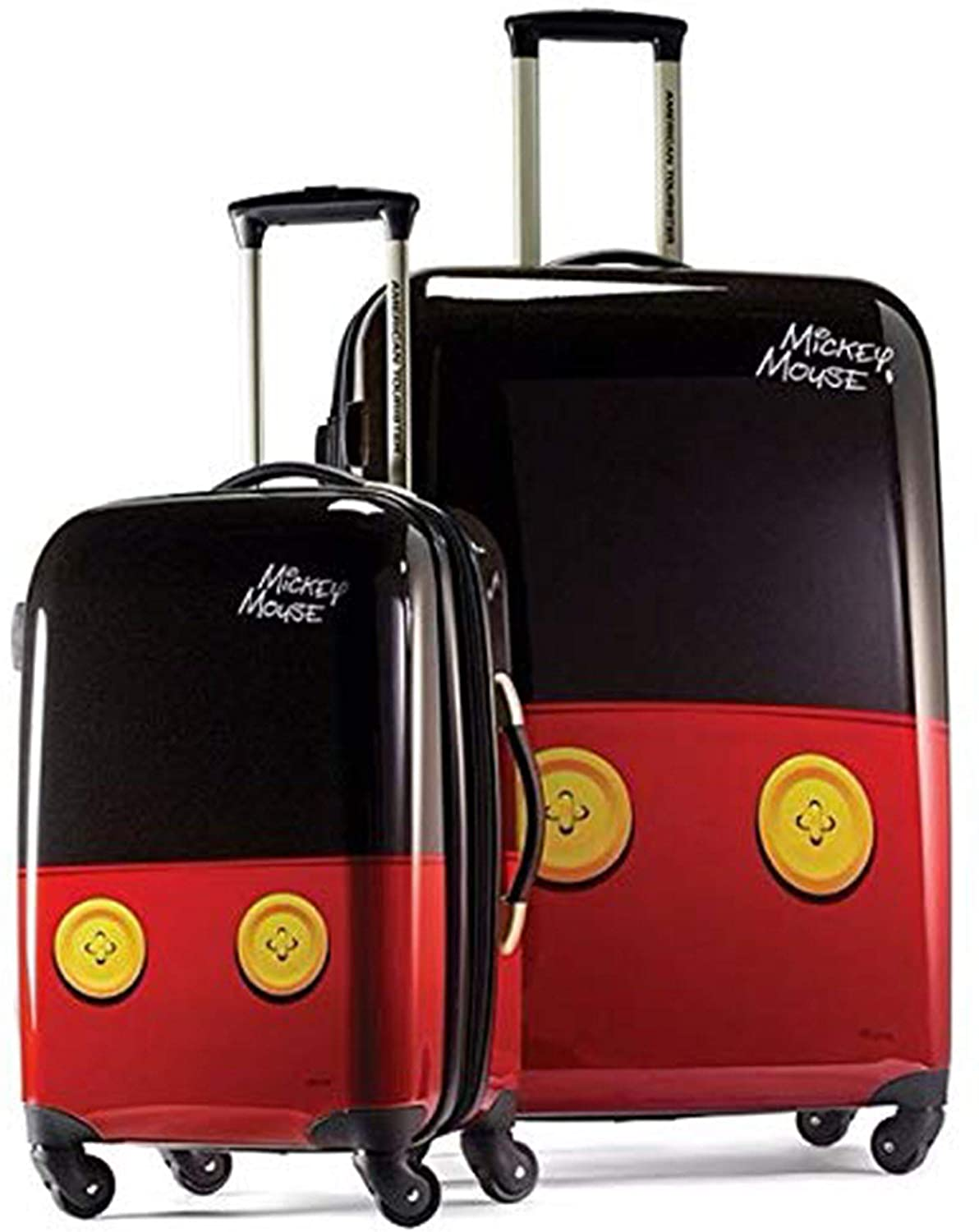 "American Tourister Disney Hardside Luggage with Spinner Wheels, Mickey Mouse Pants Set 21/28""  $97.20 Amazon"