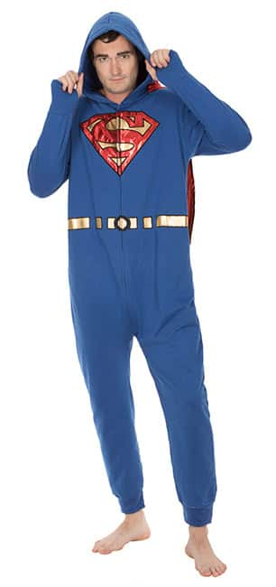 Adult Superman Brushed Terry Onesie Lounger Pajama with Foil Removable Cape Was $49.99 Now $9.99