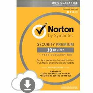 Norton Security Premium - 10 Devices | PC/MAC Download $24.99 + tax after $40 Rebate Card Fry's Deal of the Day