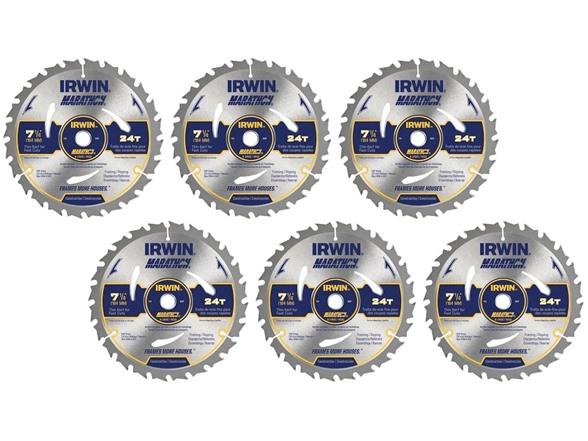 "Irwin Marathon 7 1/4"" 24 Tooth Circular Saw Blade (6 Pack) $19.99"