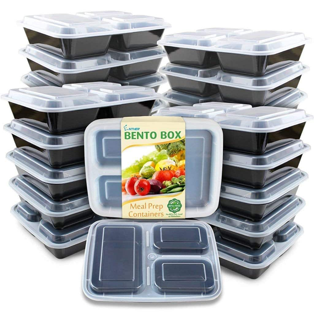 Lightining deal : Enther Meal Prep Containers [20 Pack] 3 Compartment with Lids for $14.44 @ Amazon